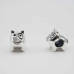 DOG CHARM DIY Beads Solid 925 Silver Not Plated Fits Pandora Bracelet&Charms