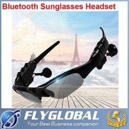 Wholesale Sun Glasses Bluetooth Headset Sunglasses Stereo Bluetooth Headphone Wireless Handsfree Black for iphone s Samsung Galaxy S5 S4 ipad