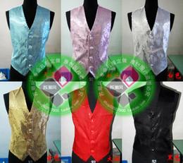 Escama de lentejuelas en Línea-Lentejuelas traje de la escama de los nuevos hombres del chaleco del chaleco de moda del novio de la boda chaleco del ajustado de Chalecos vestido de fiesta vestido de novia más tamaño