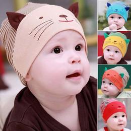 Cute Baby Infant Beanie Cotton Hat Toodler Boys Girls Kids Striped Stripe Cat Cap 5 Colors