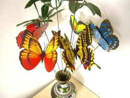 Wholesale 50Pcs at least Patterns cm Mixed Size Fake Artificial Butterfly on Spring Stick Pick Garden Plant Yard Stake Flower Arrangement