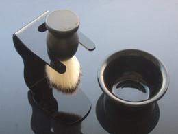 Wholesale Black ACRYLIC shaving brush stand shaving brush holder Bowl Shaving brush SET NEW