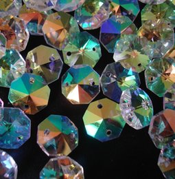 Wholesale Christmas Tree Decoration Beads - Wholesale-50pcs lot crystal 14mm octagon beads ab color in 2 holes for home decoration free shipping