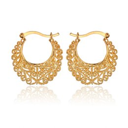 Wholesale Hot Item K Real Gold Plated Hollow Flowers Hoop Earrings Basketball Wives Earrings Fashion Jewelry For Women E6771