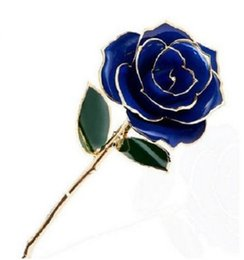 Hot sell Genuine Rose Preserved Dipped in 24K Gold Rose Gifts for her valentine's day bithday Lovers day Free shipping