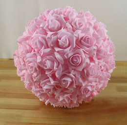 Wholesale-Free EMS Shipping 8pcs 11'' 28cm Artificial Foam Rose Hanging Flower Balls Wedding Decoration Rose Balls