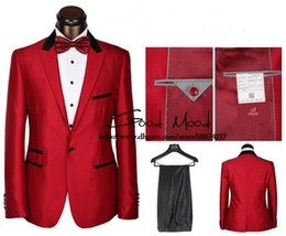 Wholesale-Famous brand men suit! new fashion men red dress suit wedding! Red blazers for men