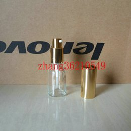 15ml clear transparent Glass lotion Bottle With aluminum shiny gold pump.for lotion and essential oil. lotion cream container