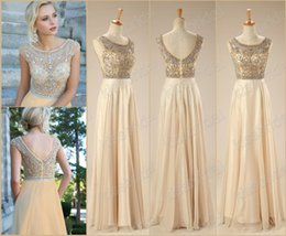 Wholesale 2015 Best Selling In Stock Prom Dresses Rhinestone Beaded Scoop Neck Capped Sleeve A Line Floor length Champagne Chiffon Evening Formal Gown