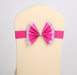 Wholesale Wedding Chair Bows Party Banquet multicolor spandex Sash Bows come with diamond new style shipping free