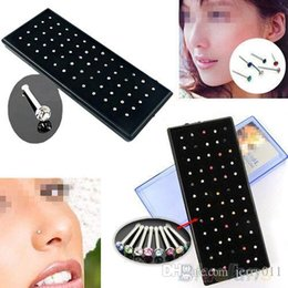 Indian style 60pcs set Crystal Rhinestone Nose Ring Bone Stud Surgical Steel Body Piercing Jewelry 1N6L