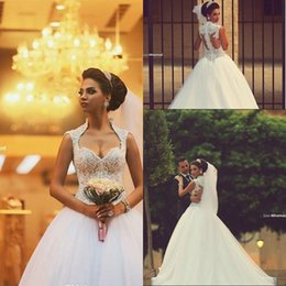 Sweetheart Saudi Arabic Backless Winter Wedding Dresses Zipper Back Appliques Beaded Bodice Sheer Ball Gown Organza Bridal Gowns