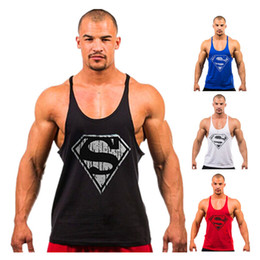 Wholesale Superman Gym Singlets Mens Tank Tops Shirt Bodybuilding Equipment Fitness Mens Gold s Gym Stringer Tank Top Sports Clothes