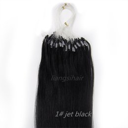 Wholesale Brazilian Human Hair Grade A Factory inch g g s s Jet Black Straight Peruvian Indian Micro Ring Hair Extensions