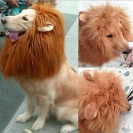 Wholesale Pet Costume for Large Dog Lion Mane Head Headgear Hat with Ears Brown Color new arrivel funny dog mask