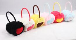 Wholesale Cheece wool fluffy heart earmuffs five color woman winter candy warm earmuffs EZ003