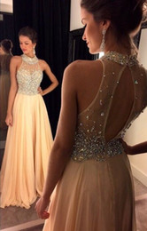2019 New Sexy Halter Chiffon Floor Length Evening Dresses Champagne Sheer Beaded Crystals Top Backless Floor Length Prom Dresses