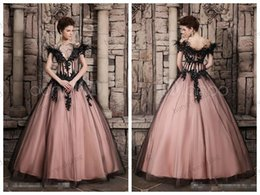 Wholesale 2015 Ball Gown Wedding Dresses Vintage Luxury Ostrich Feathers Black Gothic Queen Victorian Halloween Party Evening Bridal Dress Gowns
