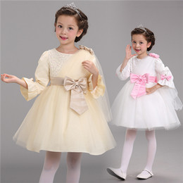 long sleeve dresses Princess Wedding Party Dress Fashion Kids Girls Princess Wedding Party Dresses Kids For Girl flower