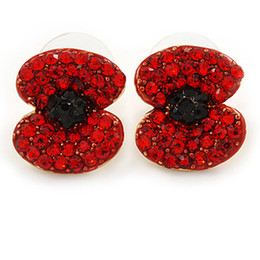 1.75 Inch Gold Tone Red Emerald and Rhinestone Crystal Diamante Poppy Stud Earrings Jewellery British
