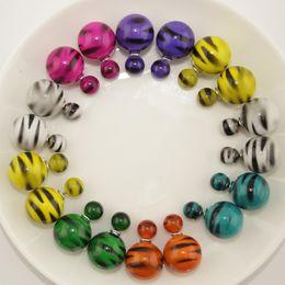 Wholesale Newest Design Double Sided Earrings Mix Colors Acrylic Zebra Stripes Stud Earrings for Women AODA Brand