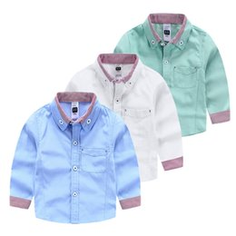 Wholesale Export brand baby boy shirt Oxford striped kids clothing boys clothes gentle childrens clothing shirts fashion British western style