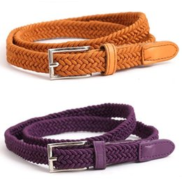 Brand New Fashion Thin Belt Elasticity Canvas Leather Belt 13 Color Alloy Buckle Waist Strap Brand Designer Belts For Women