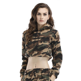 European and American hot selling camouflage clothes, women's hoodies, hooded hooded short coat, printed sweater, lady's camouflage suit.
