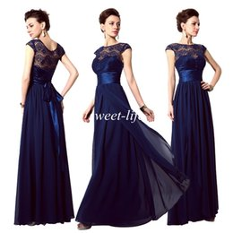2015 Cheap Evening Dresses Navy Blue Lace Sheer Neck Sash A-Line Cap Sleeve Vintage Bridesmaid Dress In Stock Long Party Prom Dress Gowns