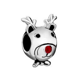 MYD Jewelry Cute Red Nose Deer Bead In Rhodium Plating European Christmas Charm Fit Pandora Bracelet