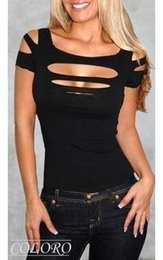 Ladies   Womans Sexy Ripped, Slashed Black Tight T Shirt, Top Clubwear Free Shipping