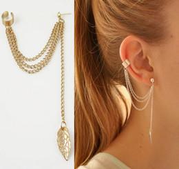 Women clip earring Punk Rock tassel leaves chain dangle ear cuff metallic wrap earring free shipping