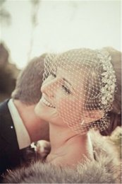 Wholesale 2016 Vintage Birdcage Veils Face Blusher Wedding Hair Accessories Crystal Pearls One layer Short French Tulle Bridal Headpieces Crown SKU451