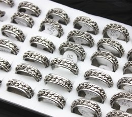 Jewelry Wholesale lot 36pcs 7MM Stainless Steel Silver Tone Chain Rings Rotating Spinner Ring Men Women's Gift MR52