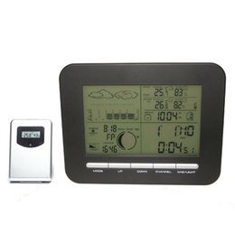 Wholesale Digital Home Wireless Weather Station Clock Barometer IN Outdoor Temperature Thermometer Humidity Hygrometer Sensor Transmitter