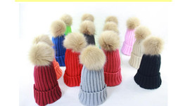 Winter Knitted Beanie Hat With Fur Ball Women Headgear Lady Girl Casual Pom hat Free Shipping