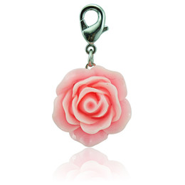 Fashion Floating Lobster Clasp Charms Silver Plated Pink Resin Rose Flower Pendants DIY Charms For Jewelry Making