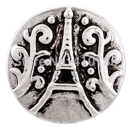 NSB1337 Hot Sale Snap Charms Eiffle Tower Snaps Vintage Snap Buttons Jewelry Fashion DIY Jewelry