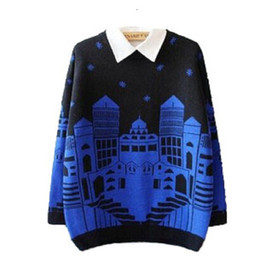 sweaters 2014 fashion Women backing knitting pullover and sweater female wool jumper batwing sleeve Loose snow Scenic Street