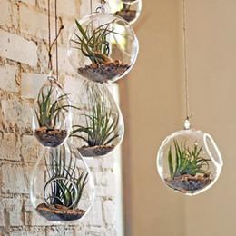 Wholesale Transparent Hanging Glass Flower Plant Vase Candle Tealight Holder Terrarium Wedding Decor Home Decoration New Planters Pots