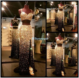 Gorgeous Bling Two Piece Prom Dresses Sexy High Split 2019 Mermaid Rhinestone Prom Gowns Sparkly Luxury Formal Evening Dresses