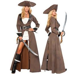 Les femmes pirates ceintures à vendre-Cosplay Costumes Pirate Sexy pour les femmes Deluxe Pirate Captain Costume White Dress strass Ceinture Sword Uniformes Outfits