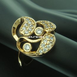 r238-Size 7 to 8 Woman's Cute White Sapphire 18K Yellow Gold Filled Ring Gift