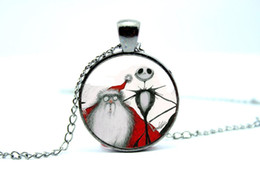 Wholesale 10pcs Jack Skellington Necklace Nightmare Before Christmas Jack Skellington Santa Picture Pendant Art Pendant