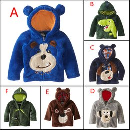 Wholesale Coral Boys Hoodies - 2015 new winter coral velvet Children's Coat cartoon Animal embroidered boys Hoodie outwear for kids clothes baby boy costume 201507HX