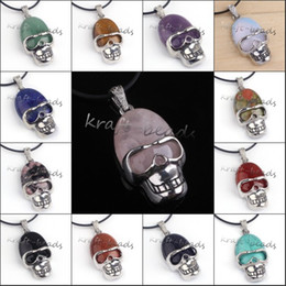 wholesale 10Pcs Charms Silver Plated Mixed Different Natureal Stone Skull Shape Stone Pendant Jewelry Fit Necklace No Chain