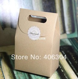 Free shipping , gift cake kraft paper cookie boxes, cake box food package bag with handle,10cm*6cm*15.5cm