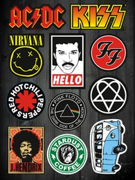 Wholesale 11pcs Set Rock Band Stickers for laptop skateboard bicycle suitcase pvc Design DIY Music Accessory acdc kiss pink f