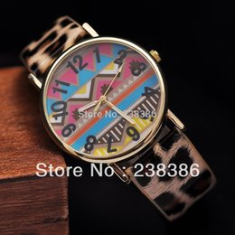 Wholesale TGJW421 Fashion Unique Design Women Watch Colorful Wave Pattern Arabic Numbers Watch Face Dress Watches PU Leather Strap Clock