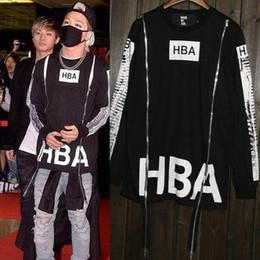 Wholesale HBA Fashoin Hip Hop Streetwear Clothing Womens Mens Hood by Air Long Sleeve Side Zipper T Shirt Effect Bone Black Shirt Top Men